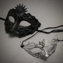 Black Roman Greek Emperor Masquerade Mask & Silver Laser Cut Metal Venetian Masquerade Silver Rhinestone Mask - Couple