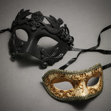 Black Roman Warrior Metallic Mask & Gold Medieval Venetian Masquerade Mask 'Phantom of Opera' Design - Couple
