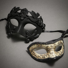 Black Roman Warrior Metallic Mask & Silver Medieval Venetian Masquerade Mask 'Phantom of Opera' Design - Couple