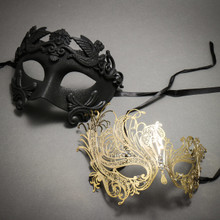 Black Roman Warrior Metallic Mask & Gold Venetian Swan Party Masquerade Mask with Rhinestones and Bling - Couple
