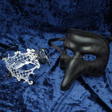 Black Long Nose Swan Venetian Masquerade Mask & Silver Venetian Masquerade Phantom Mask with Silver Swarovki - Couple - 2