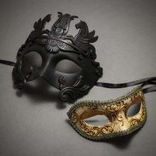 Black Roman Greek Emperor with Pegasus Horses Venetian Mask & Gold Medieval Venetian Masquerade Mask Phantom of Opera Design - Couple