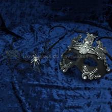 Silver Roman Greek Emperor with Pegasus Horses Venetian Mask & Black Firefox Charming Princess Venetian Masquerade Mask Diamonds - Couple - 2