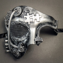 Phantom of Opera Steampunk Masquerade Half Face Mask - Black Silver