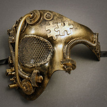 Phantom of Opera Steampunk Masquerade Half Face Mask - Gold