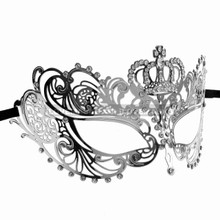 Charming Princess Crown Venetian Masquerade Mask With Diamonds - Silver - 2