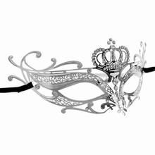 Princess Crown Venetian Masquerade Mask With Diamonds - Silver - 2