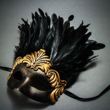 Ancient Venetian Party Masquerade Feather Mask - Black Gold