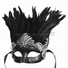 Ancient Venetian Party Masquerade Feather Mask - Black Silver