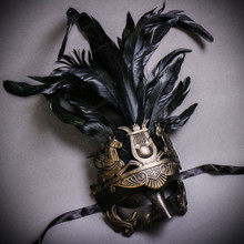 Venetian Roman Greek Pegasus Horses Feather Mask - Dark Gold Black