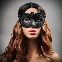 Classic Glitter Venetian Women Masquerade Mask- Black