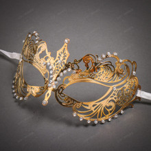 Charming Princess Venetian Masquerade Mask With Diamonds - Gold