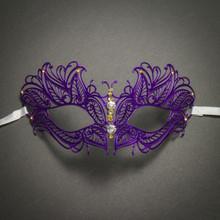 Butterfly Princess Venetian Masquerade Mask With Diamonds - Purple