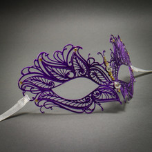 Butterfly Princess Venetian Masquerade Mask With Diamonds - Purple