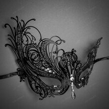 Venetian Swan Party Masquerade Mask with Rhinestones and Bling - Black