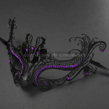 Elegant Princess Venetian Masquerade Mask With Purple Diamonds - Black