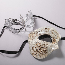 Silver Half Face Phantom of Opera and Silver Charming Princess Laser Cut Masks for Couple