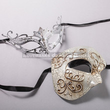 Silver Half Face Phantom of Opera and Black Princess Laser Cut Masks for Couple