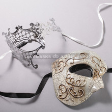Silver Half Face Phantom of Opera and Silver Phantom of Opera Laser Cut Masks for Couple