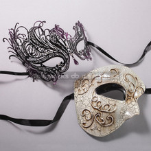 Silver Half Face Phantom of Opera and Black Purple Swan Laser Cut Masks for Couple