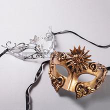 Gold Roman Sun Warrior Mask and Silver Princess Laser Cut Masks for Couple