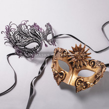 Gold Roman Sun Warrior Mask and Black Purple Swan Laser Cut Masks for Couple