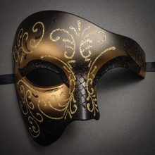 Phantom Of Opera Masquerade Venetian Men Mask - Black Gold - 1