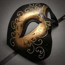 Phantom Of Opera Masquerade Venetian Men Mask - Black Gold - 2