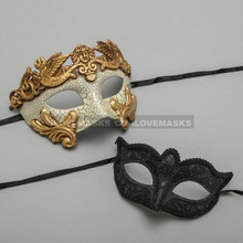 Gold Warrior Roman Greek Masquerade Mask & Black Glitter Venetian Eyes Mask - Couple