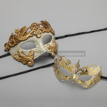 Gold Warrior Roman Greek Masquerade Mask & Gold Princess Diamond Venetian Mask - Couple