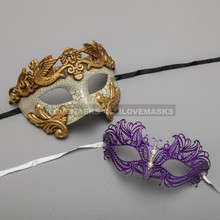 Gold Warrior Roman Greek Masquerade Mask & Purple Princess Diamond Venetian Mask - Couple
