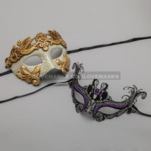 Gold Warrior Roman Greek Masquerade Mask & Black Charming Princess Purple Diamond Mask - Couple