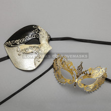 Black Phantom of Opera Masquerade Mask & Gold Princess Diamond Venetian Mask - Couple