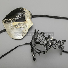 Black Phantom of Opera Musical Style Half Face Masquerade & Laser cut Mask for Couple