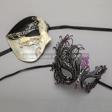 Black Phantom of Opera Musical Style Masquerade & Black Purple Swan Princess Diamond Mask - Couple