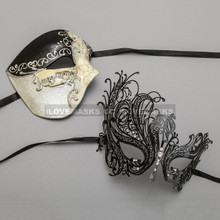 Black Phantom of Opera Musical Style Masquerade & Black Silver Swan Princess Diamond Mask - Couple