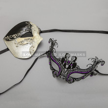 Black Phantom of Opera Musical Style Masquerade & Black Charming Princess Purple Diamond Eyes Mask - Couple