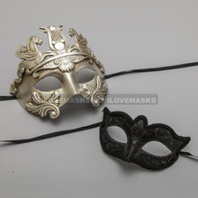 Silver Roman Greek Warrior Masquerade Mask & Black Venetian Mardi Gras Eyes Mask for Couple