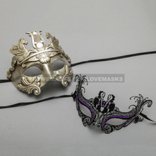 Silver Roman Greek Warrior Masquerade Mask & Black Charming Princess Purple Diamond Mask - Couple