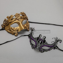Gold Roman Greek Warrior Masquerade Mask & Black Charming Princess Purple Diamond Mask - Couple