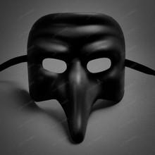 Long Nose Venetian Masquerade Mask - Black