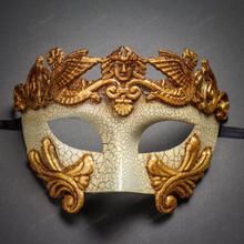 Roman Greek Emperor Masquerade Venetian Mask-Cracked White Gold