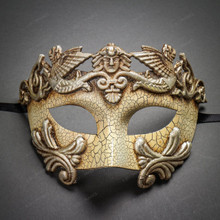 Roman Greek Emperor Masquerade Venetian Mask-Cracked White Silver