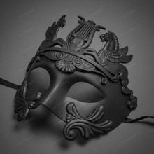 Roman Greek Emperor with Pegasus Horses Venetian Mask - Black
