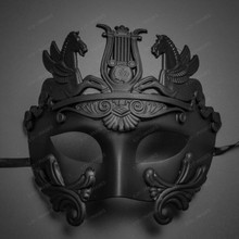 Roman Greek Emperor with Pegasus Horses Venetian Mask - Black