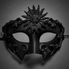 Warrior Roman Greek Sun Venetian Masquerade Cracked Mask - Black