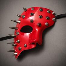Steampunk Spikes Phantom Venetian Masquerade Mask - Glossy Red