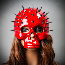Steampunk Spikes Skull Venetian Masquerade Half Face Mask - Glossy Red (with female model)