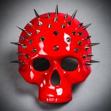Steampunk Spikes Skull Venetian Masquerade Half Face Mask - Glossy Red