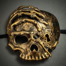 Halloween Skull with Key Venetian Masquerade Half Face Mask - Gold